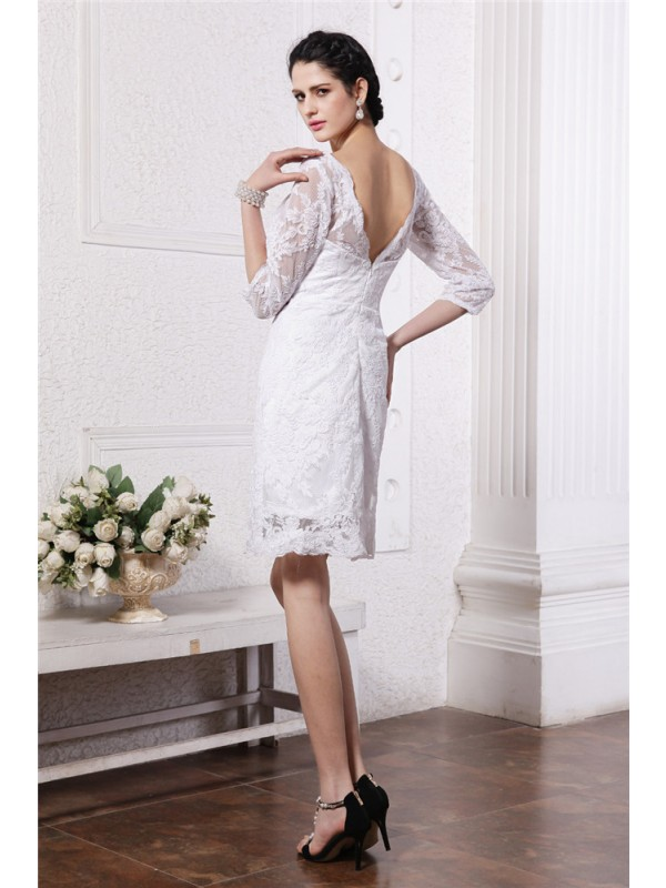Beautiful Sheath Half Sleeves Bateau Short Lace Wedding Dress
