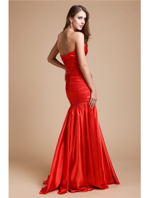 Hot Sale Mermaid Strapless Long Elastic Woven Satin Dress