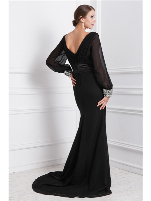 Hot Sale Mermaid V-neck Long Sleeves Long Chiffon Dress