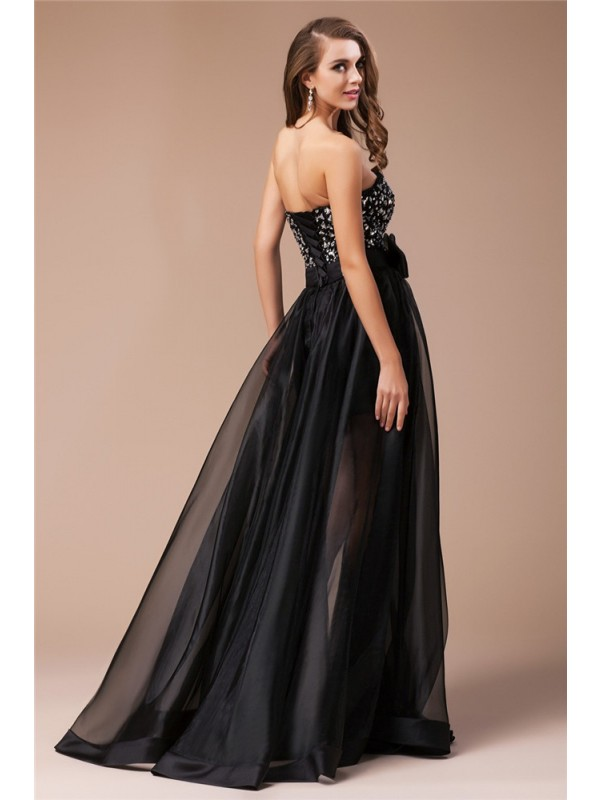 Modest Sheath Sweetheart Long Sleeveless Organza Elastic Woven Satin Dress