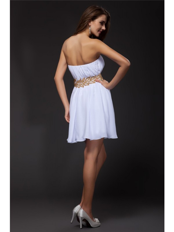 Hot Sale A-Line Strapless Sleeveless Short Chiffon Cocktail Dress