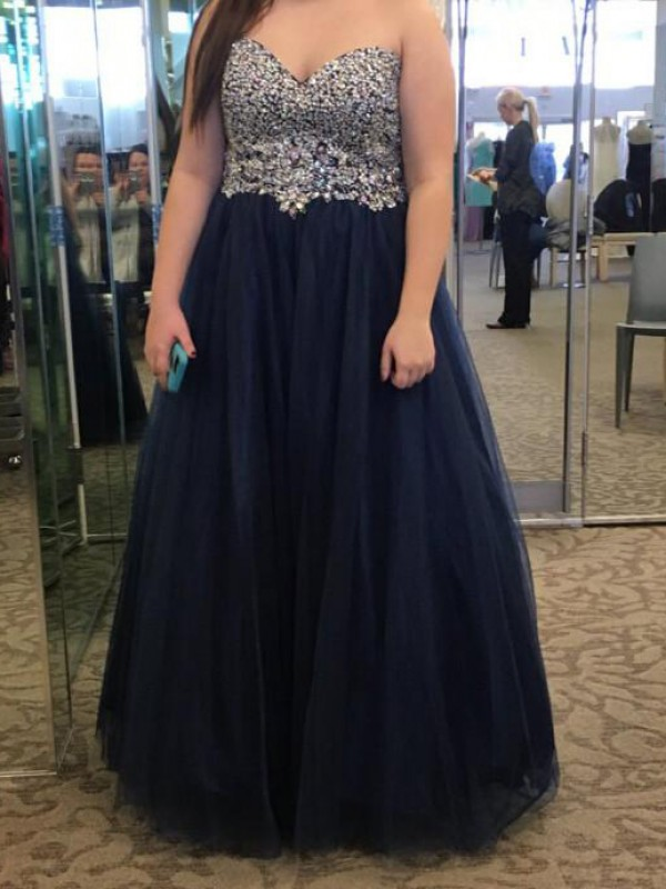 Classical A-Line Sweetheart Sleeveless Floor-Length Tulle Plus Size Dress