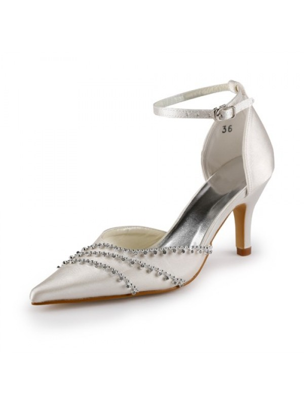 Exquisite Women Satin Stiletto Heel Closed Toe Champagne Wedding Shoes Buckle