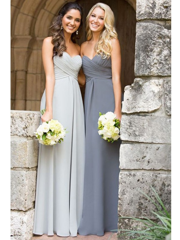 Cheap A-Line Sleeveless Sweetheart Floor-Length Chiffon Bridesmaid Dress