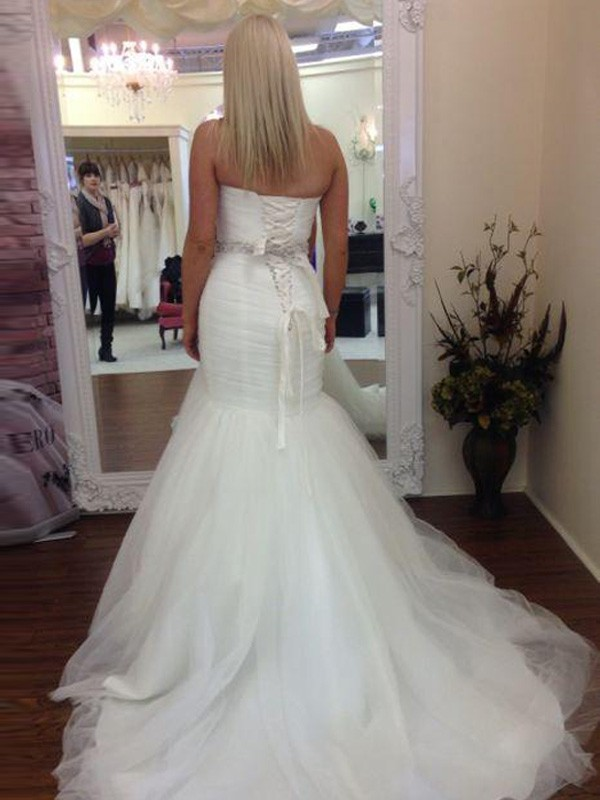 Discount Mermaid Sleeveless Sweetheart Floor-Length Tulle Wedding Dress