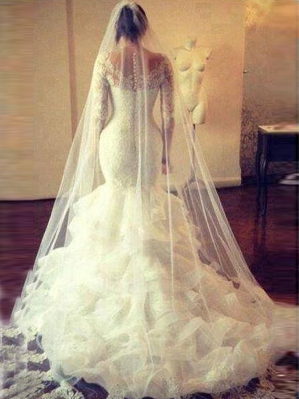 Discount Mermaid Scoop Long Sleeves Lace Court Train Tulle Wedding Dress
