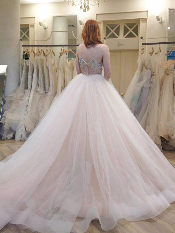 Affordable Ball Gown Spaghetti Straps Sleeveless Court Train Tulle Wedding Dress