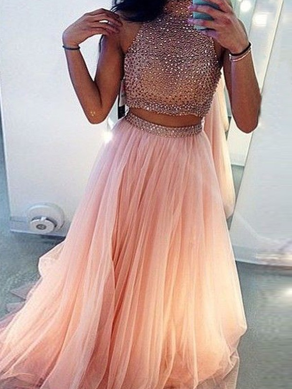 Perfect A-Line Sleeveless High Neck Tulle Sweep/Brush Train Two Piece Dress