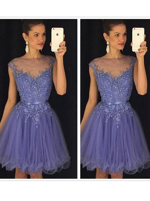 Discount A-Line Sleeveless Scoop Tulle Short/Mini Dress