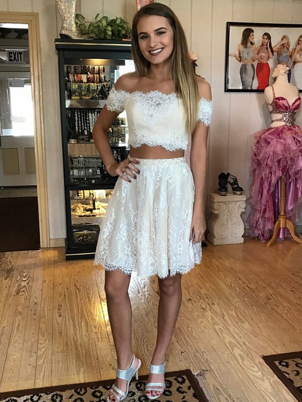 Stylish A-Line Off-the-Shoulder Sleeveless Short/Mini Lace Two Piece Dress