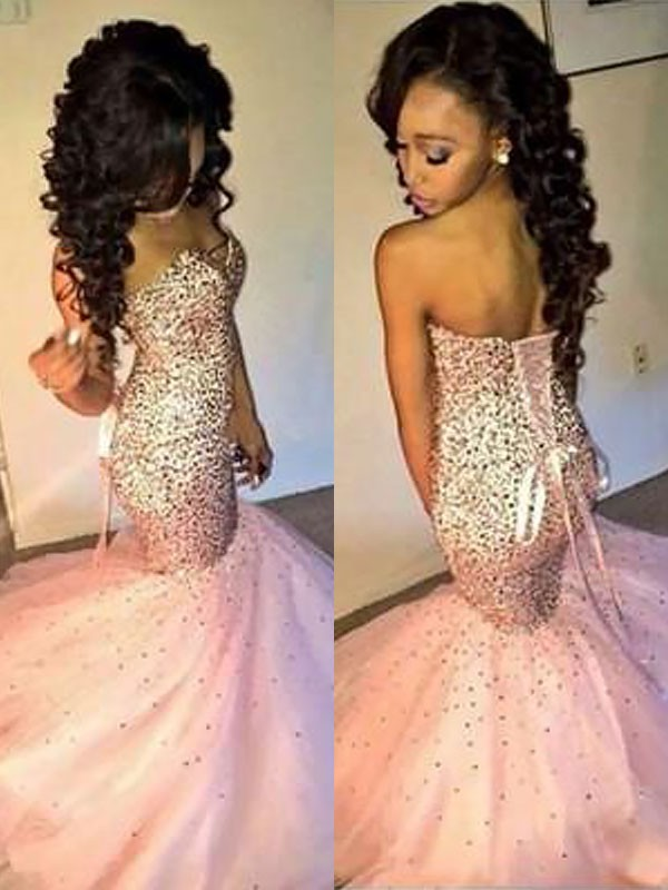 Stylish Mermaid Sleeveless Sweetheart Tulle Sequin Floor-Length Dress