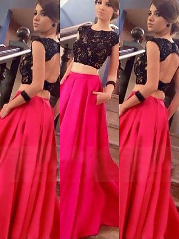 Stylish A-Line Bateau Sleeveless Satin Floor-Length Lace Two Piece Dress