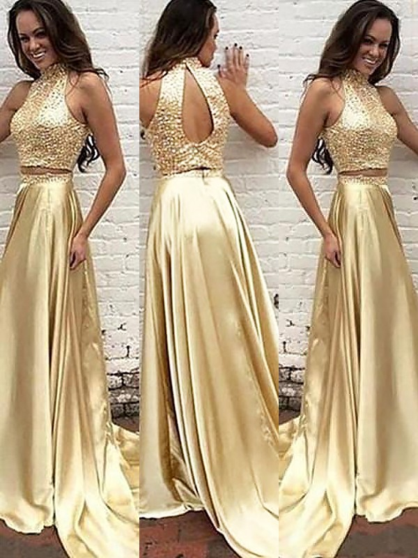 Stylish A-Line High Neck Sleeveless Satin Sweep/Brush Train Two Piece Dress