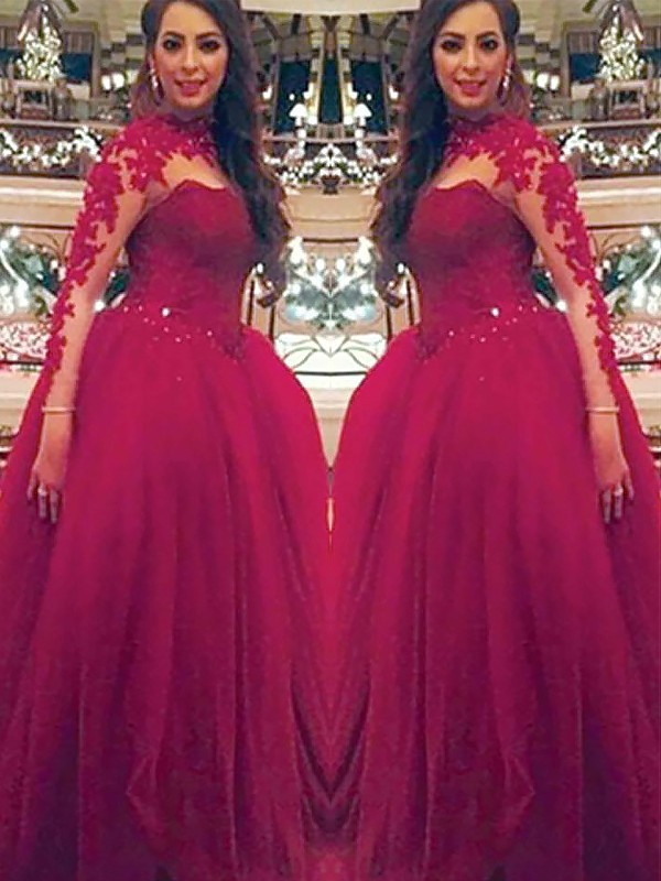 Fashion Ball Gown Long Sleeves High Neck Floor-Length Tulle Dress
