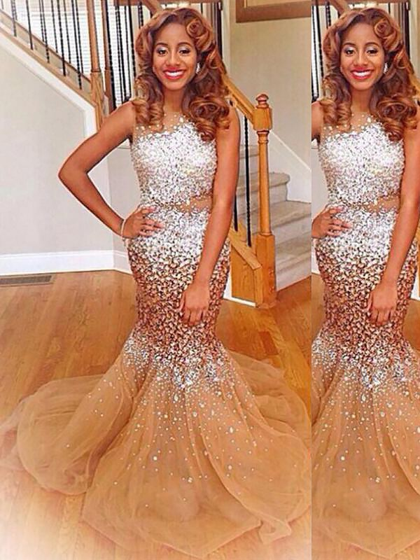 Fashion Mermaid Bateau Sleeveless Sequin Sweep/Brush Train Tulle Dress