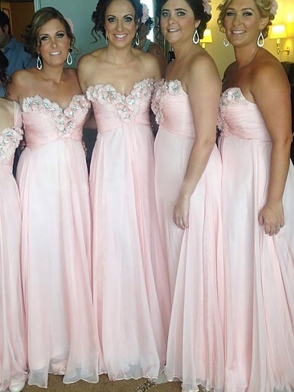 Exquisite A-Line Sleeveless Sweetheart Chiffon Floor-Length Bridesmaid Dress