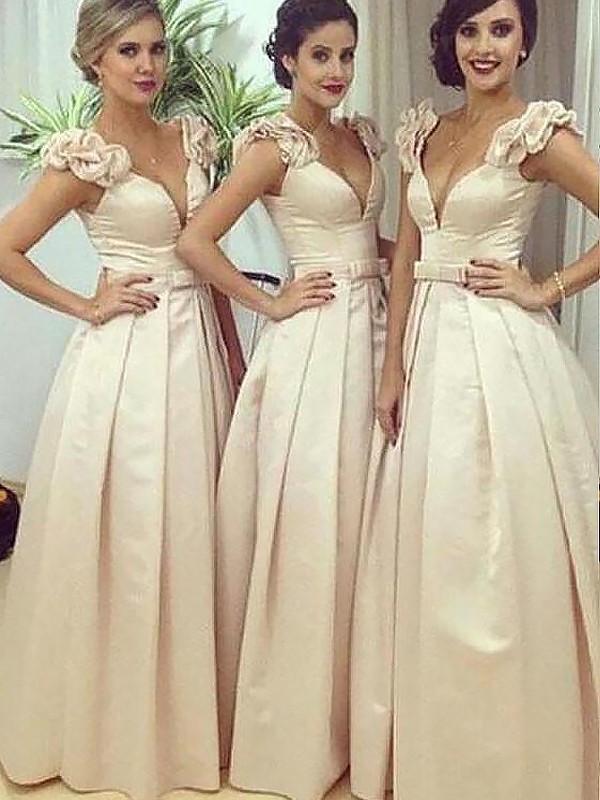 Exquisite A-Line Floor-Length Satin Sleeveless Straps Bridesmaid Dress