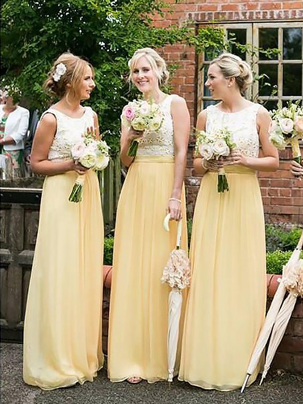 Exquisite A-Line Scoop Sleeveless Chiffon Floor-Length Bridesmaid Dress