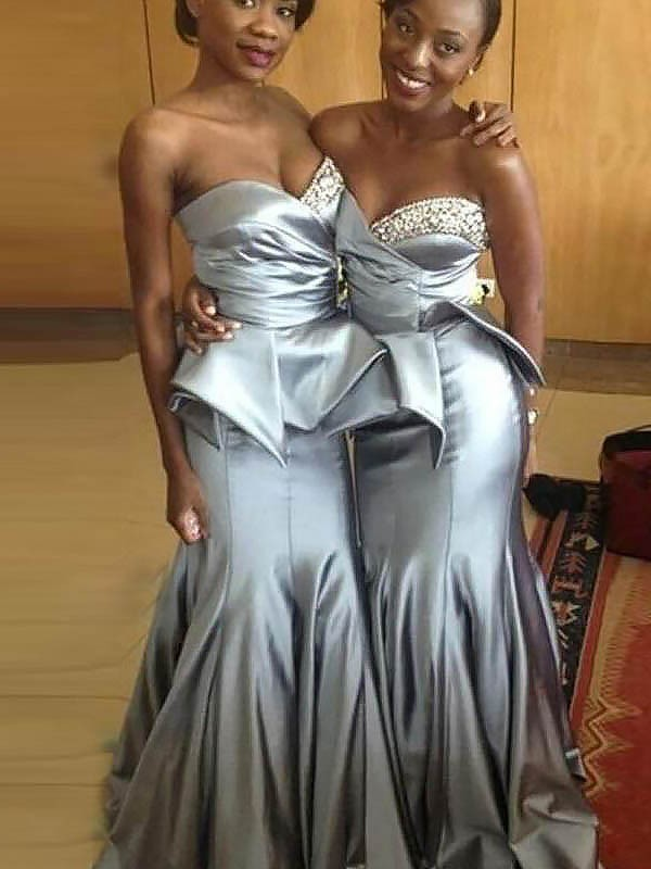 Exquisite Mermaid Sweetheart Sleeveless Satin Sweep/Brush Train Bridesmaid Dress