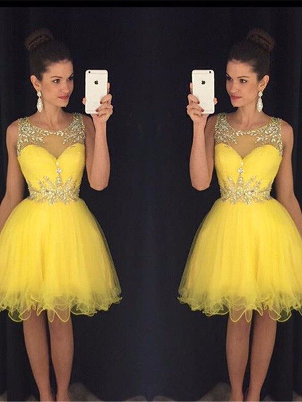 Discount A-Line Scoop Sleeveless Tulle Short/Mini Dress