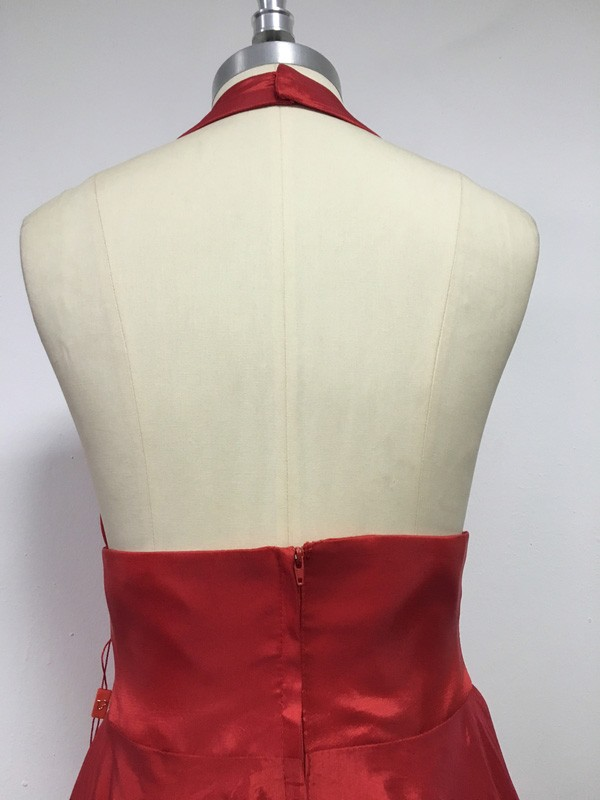 Stunning A-Line Halter Sleeveless Sweep/Brush Train Taffeta Dress