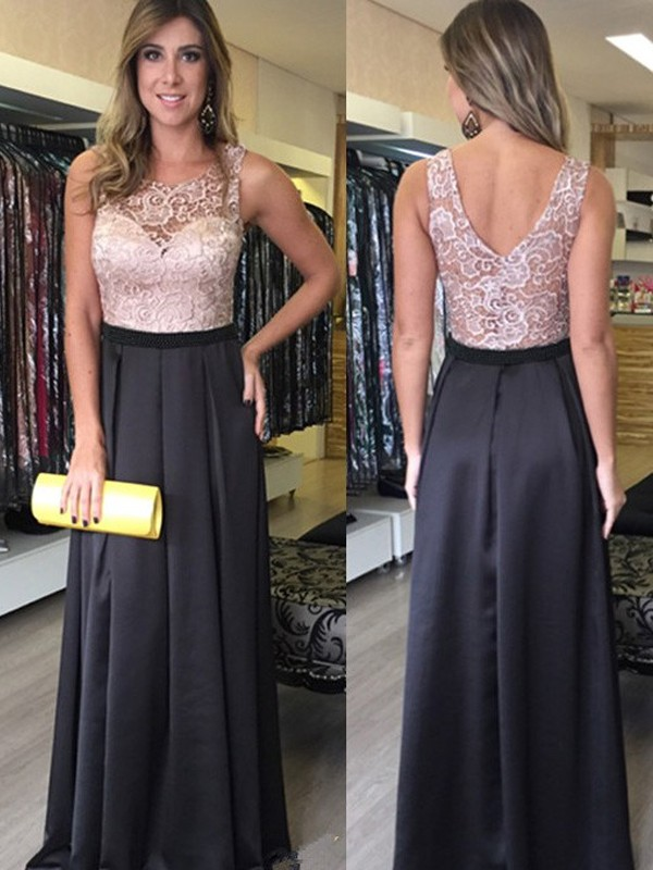 Stunning A-Line Scoop Sleeveless Lace Floor-Length Satin Dress
