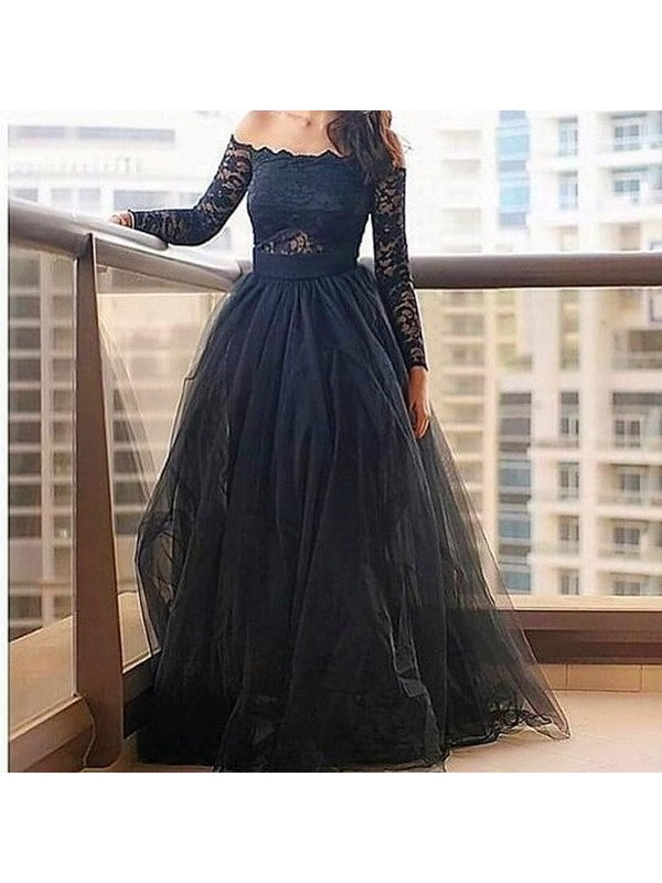 Stunning A-Line Off-the-Shoulder Long Sleeves Lace Floor-Length Tulle Dress