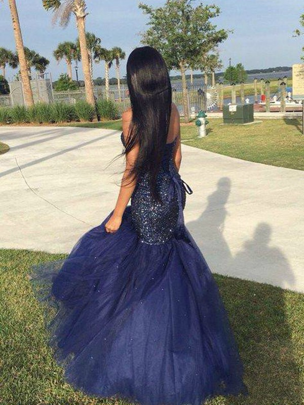Stunning Mermaid Sweetheart Sleeveless Tulle Floor-Length Dress