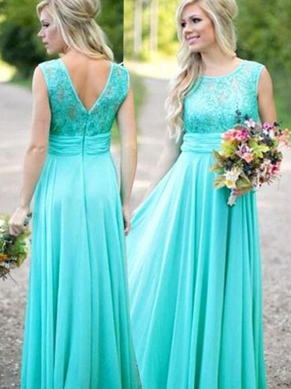 Cheap A-Line Scoop Floor-Length Lace Chiffon Bridesmaid Dress