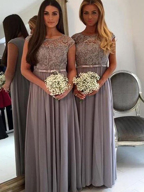 Discount A-Line Scoop Floor-Length Chiffon Bridesmaid Dress