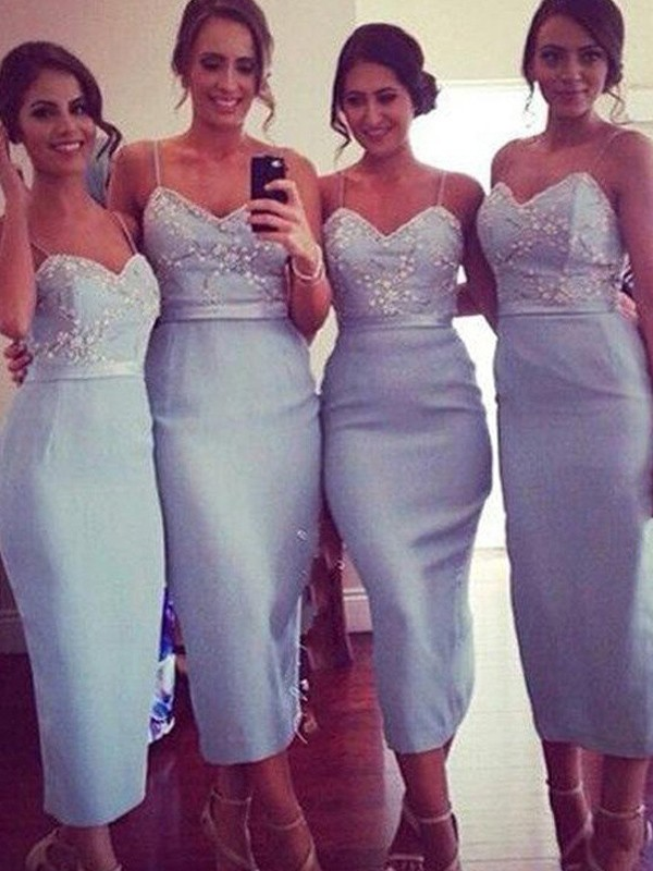 Discount Sheath Spaghetti Straps Sleeveless Satin Knee-Length Bridesmaid Dress
