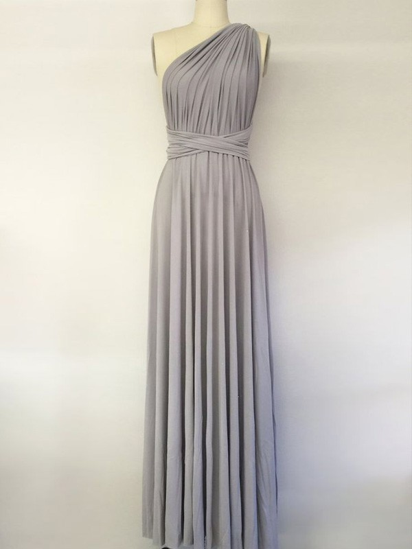 Affordable A-Line One-Shoulder Sleeveless Floor-Length Chiffon Bridesmaid Dress