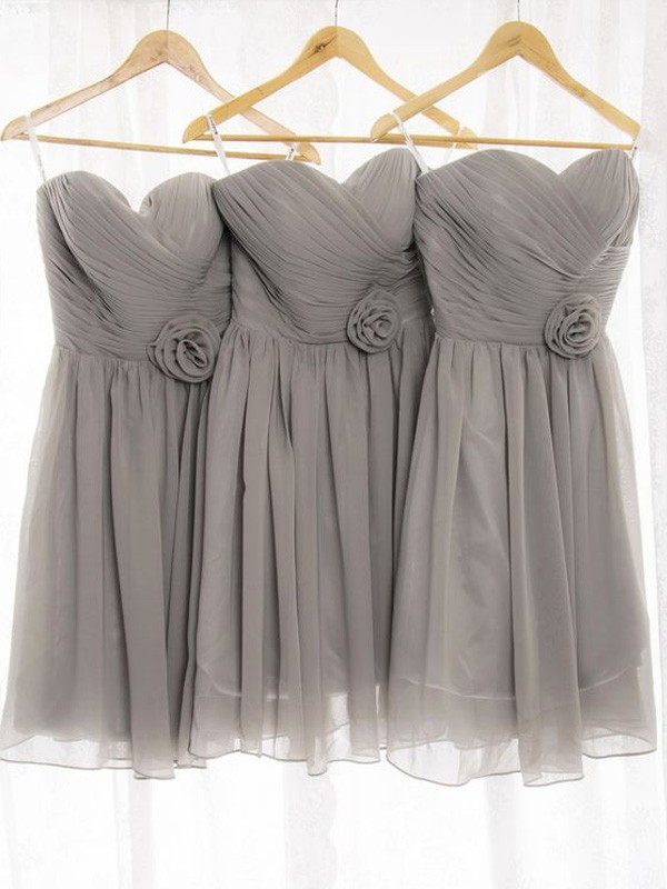 Affordable A-Line Sweetheart Sleeveless Chiffon Short/Mini Bridesmaid Dress