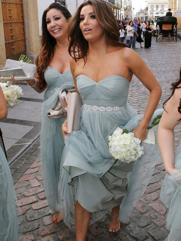 Affordable A-Line Sweetheart Sleeveless Floor-Length Tulle Bridesmaid Dress
