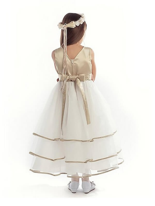 Chic A-Line V-neck Sleeveless Tulle Ankle-length Flower Girl Dress