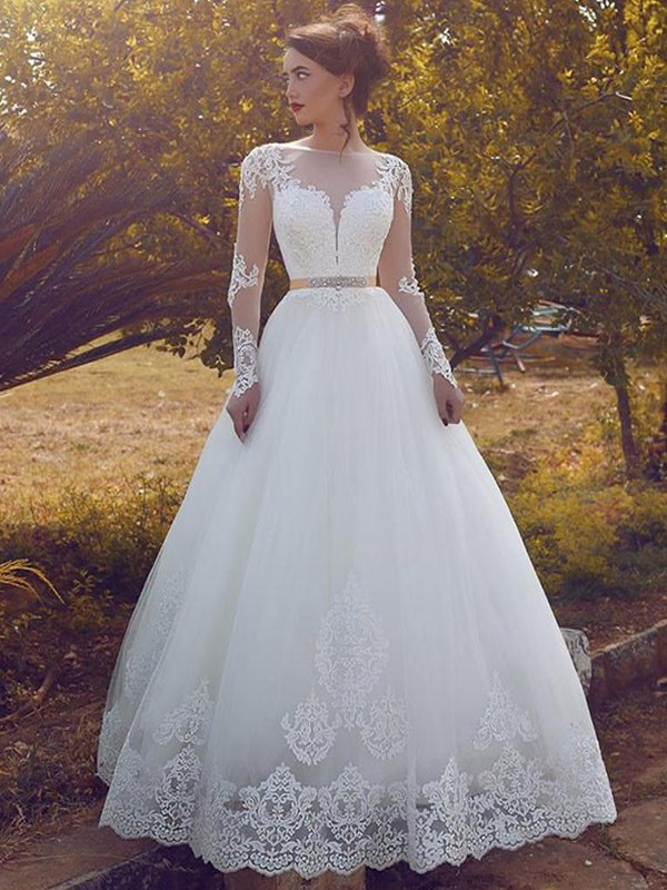 Fashion Ball Gown Bateau Tulle Long Sleeves Floor-Length Wedding Dress