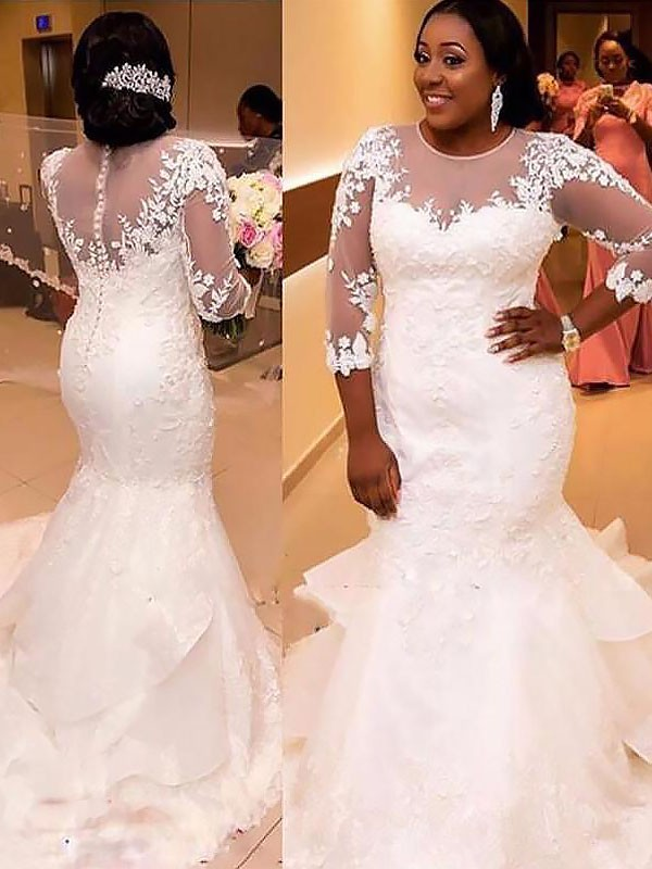Exquisite Mermaid Tulle 3/4 Sleeves Lace Court Train Wedding Dress