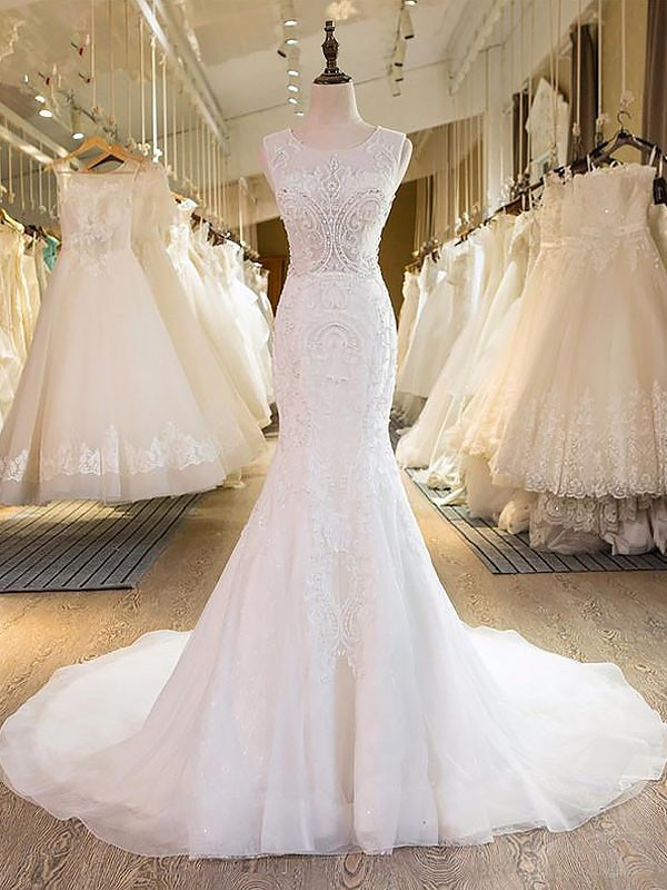 Exquisite Mermaid Scoop Tulle Sleeveless Sweep/Brush Train Wedding Dress