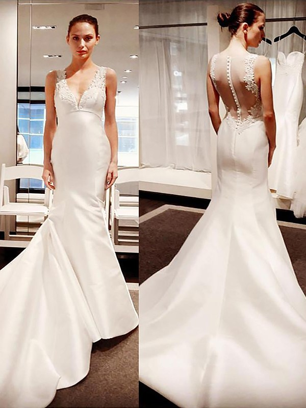 Exquisite Mermaid V-neck Court Train Satin Sleeveless Wedding Dress