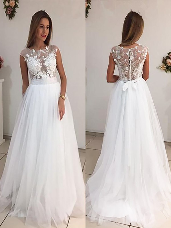 Exquisite A-Line Scoop Tulle Sweep/Brush Train Sleeveless Wedding Dress