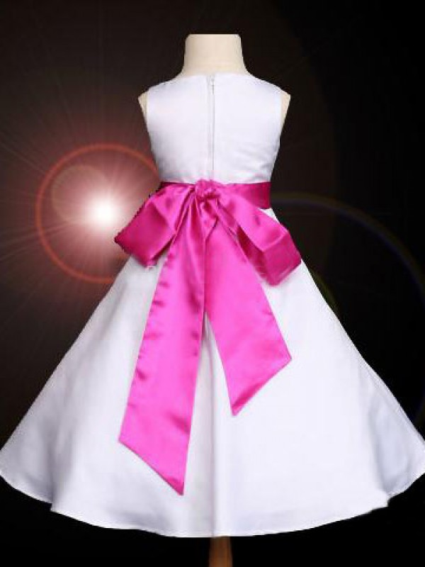 Gorgeous A-line Scoop Bowknot Sleeveless Ankle-length Satin Flower Girl Dress