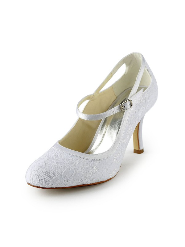 Exquisite Women Satin Stiletto Heel Pumps Buckle White Wedding Shoes