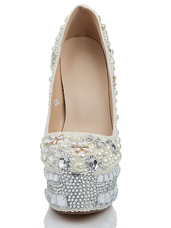 Exquisite Women Stiletto Heel Platform Patent Leather Closed Toe Pearl White Wedding Shoes