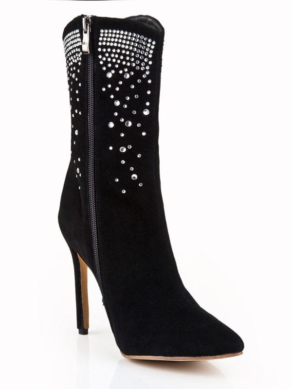 New Women Suede Stiletto Heel Closed Toe Mid-Calf Black Boots