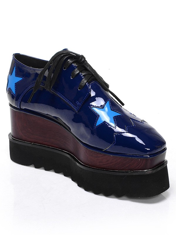 Fashion Women Patent Leather Platform Closed Toe Wedge Heel Lace-up Dark Navy Sneakers