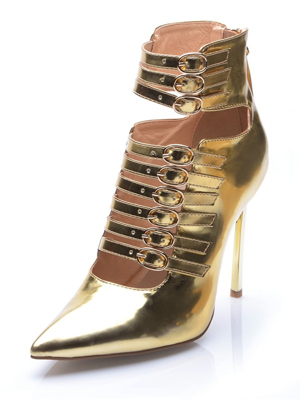 Hot Sale Women Gold Patent Leather Closed Toe Stiletto Heel Buckle Ankle Gold Boots