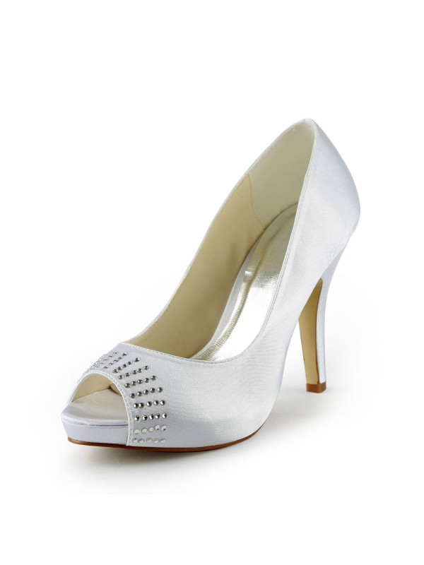 Fashion Women Satin Stiletto Heel Peep Toe Platform White Wedding Shoes