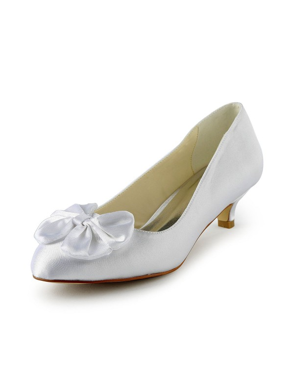 Fashion Women Satin Kitten Heel Pumps White Wedding Shoes