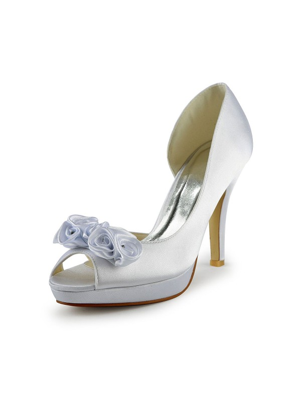 Fashion Women Satin Stiletto Heel Peep Toe Flower White Wedding Shoes
