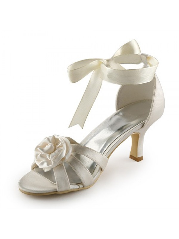 Exquisite Women Satin Stiletto Heel Sandals Ivory Wedding Shoes Satin Flower